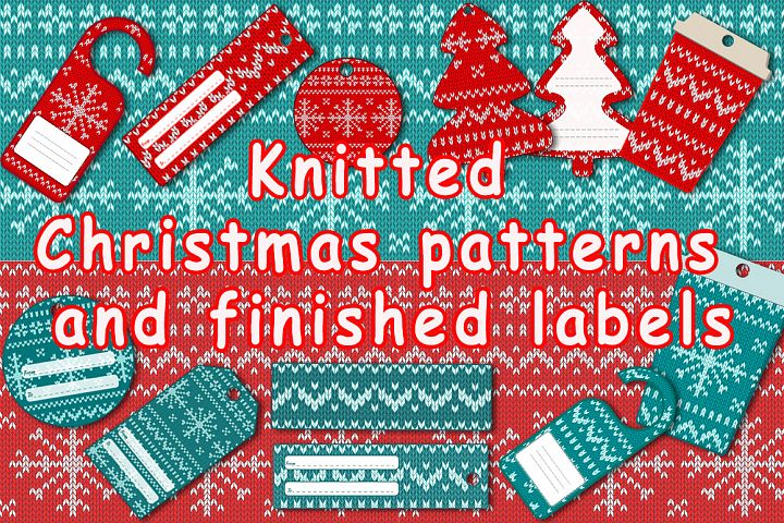 Knitted Christmas patterns and finished labels