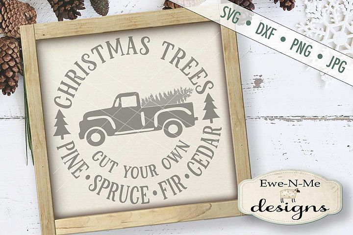Christmas Trees Old Vintage Truck Cut Your Own SVG DXF Files