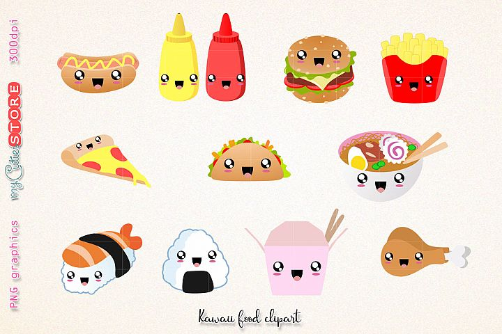Fast food clipart, cute kawaii dinner clipart and digital stamps. png graphics clip art set for planner stickers, scraps or digital planning.