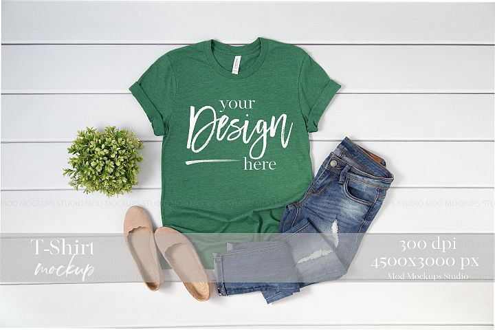 Shirt Mock up Heather Grass Green 3001 Bella Canvas Mockup