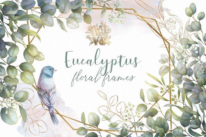 Watercolor eucalyptus frame clip art, wedding greenery png