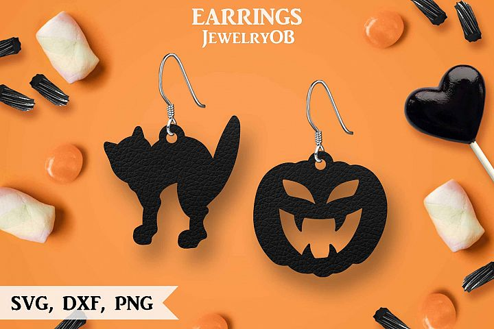 Halloween Earrings, Cut File, SVG DXF PNG Formats, Pumpkin