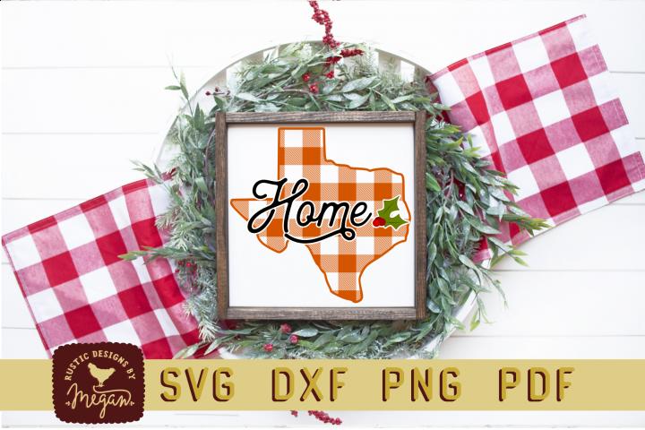 Texas Buffalo Plaid State Home Christmas SVG