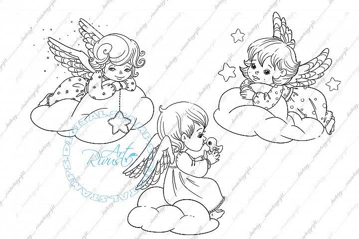 Angel Digital stamp - Christmas Bird Digi stamp coloring.