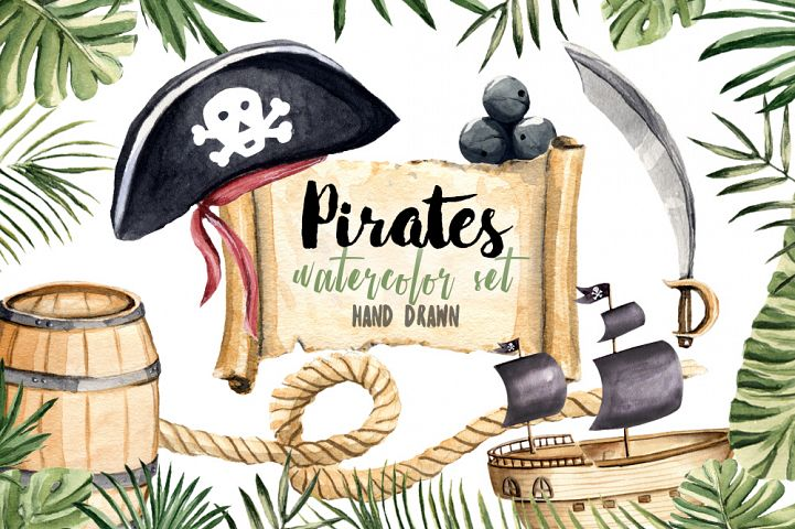 Pirates Clipart Watercolor Set Hand Painted Boy Illustration