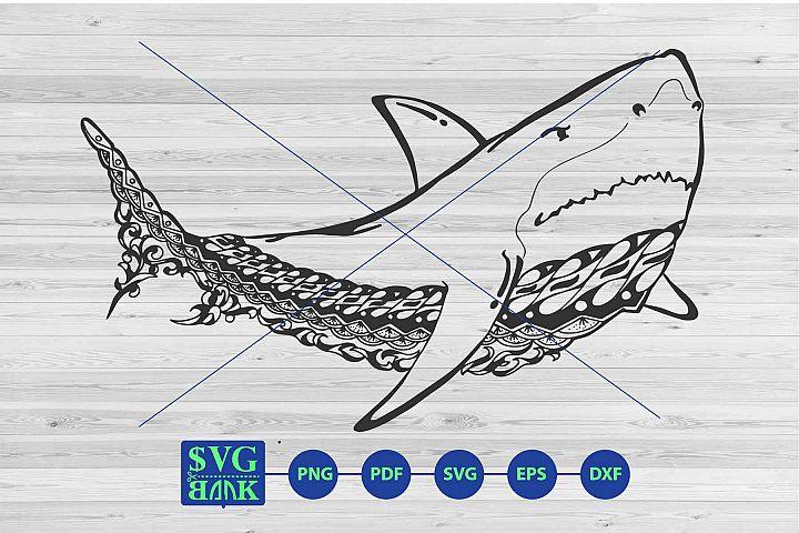 Shark mandala svg, Zentangle Shark cut file