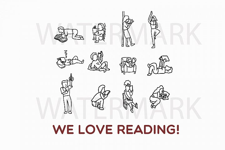 Reading Book People - SVG/JPG/PNG Hand Drawing