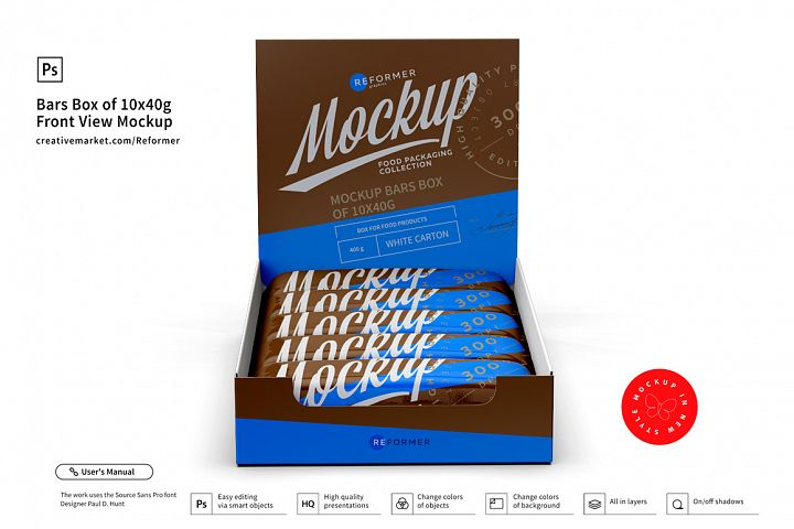 Bars Box of 10x40g Front View Mockup
