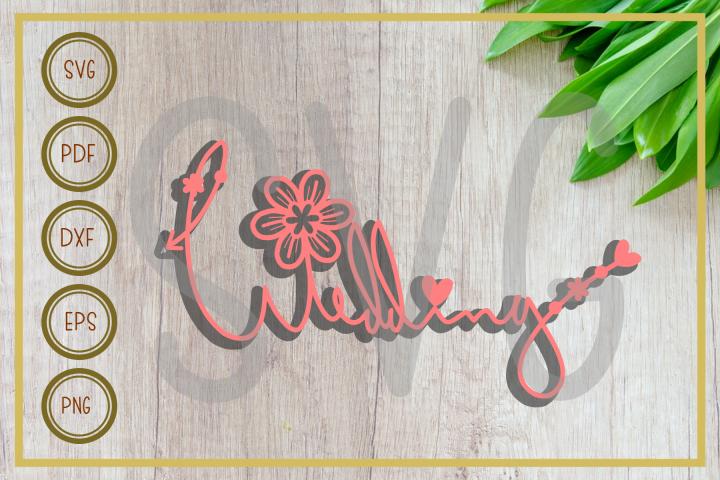 Wedding svg, wedding arrow with floral, cut file, clip art
