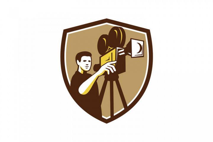 Movie Director Movie Film Camera Shield Retro
