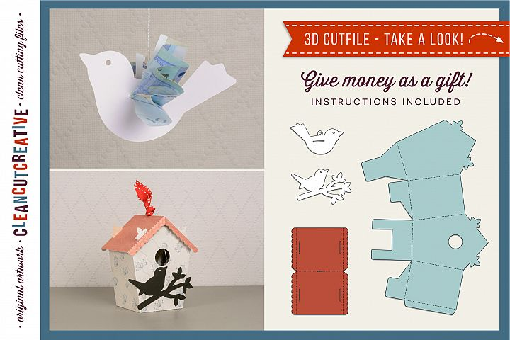 Gift Money Bird & Birdhouse 3D craft | Give Cash SVG file