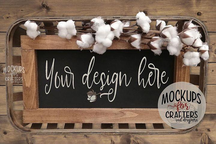 Wood Sign Mock-Up - rectangle, tobacco basket, cotton stems