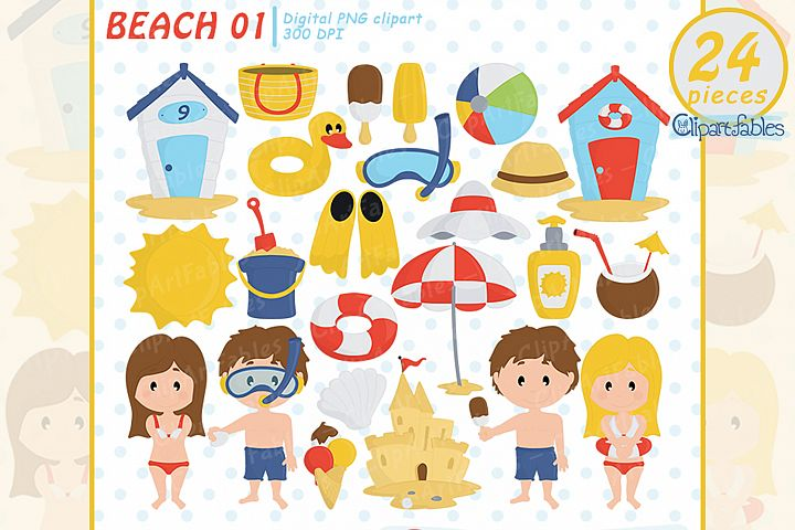 Summer beach clipart, beach fun time, Kids at the Beach