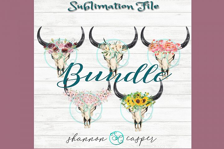 Boho Cow Skull with watercolor flowers Bundle| Sublimation