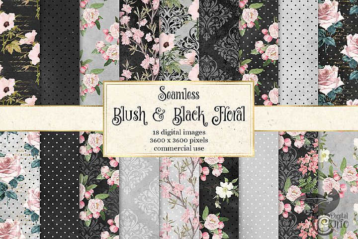 Blush and Black Floral Digital Paper