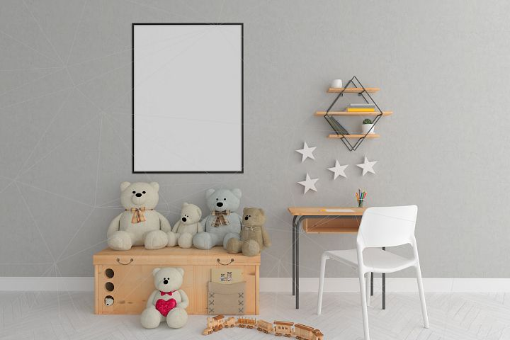 Interior mockup - blank wall mock up - nursery room