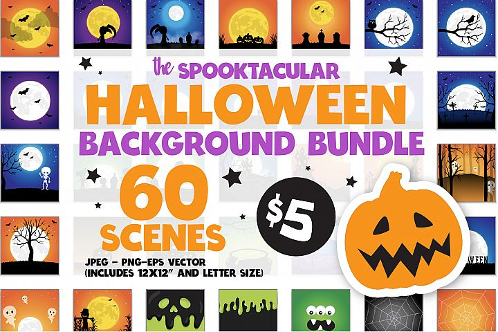 60 SCENES/BACKGROUNDS - Halloween Unicorn Bundle - 98OFF