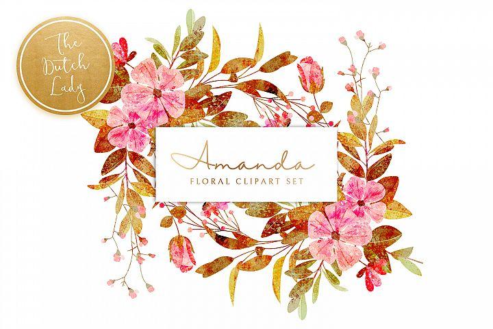 Vintage Floral & Botanical Clipart Set - Amanda