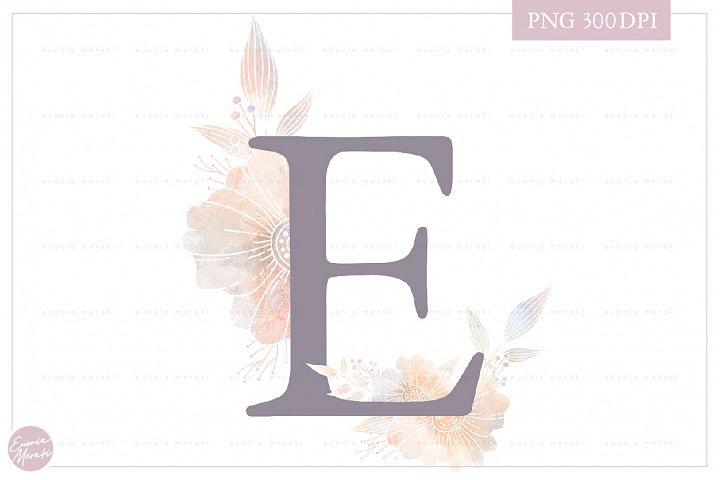 MONOGRAM Letter E Elegant Floral Monogram - Flower alphabet