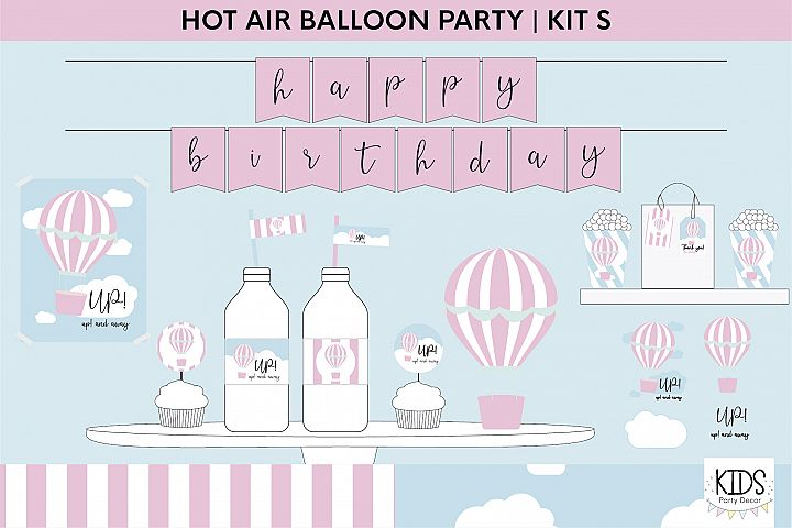 Hot Air balloon pink birthday party printable decorations