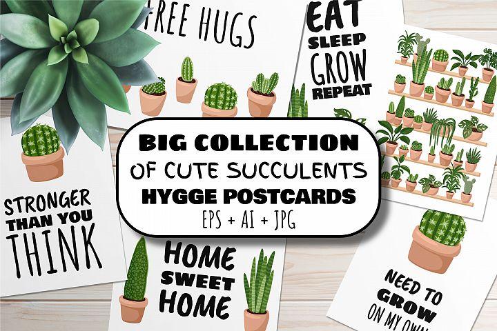 Cute Succulents Hygge Postcards Big Set