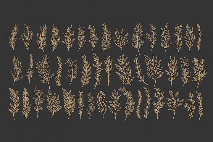 Branch gold in black background