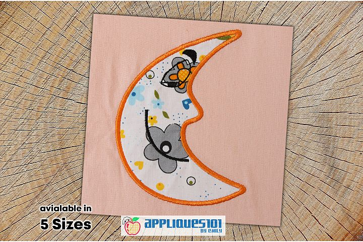 Moon Face Embroidery Applique Design - Moon