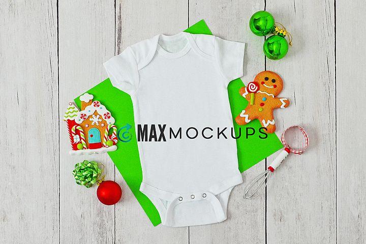 Baby bodysuit Mockup, Christmas, styled flatlay, stock photo