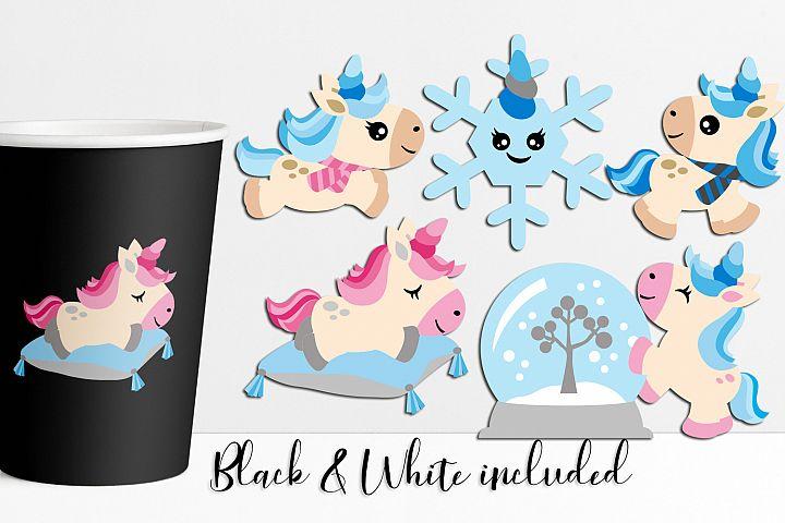 Winter unicorn clip art illustrations