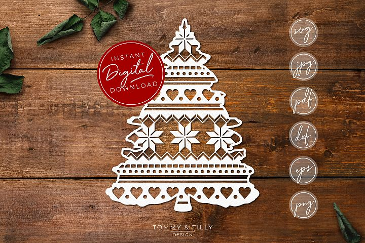Pattern Christmas Tree - SVG EPS DXF PNG PDF JPG