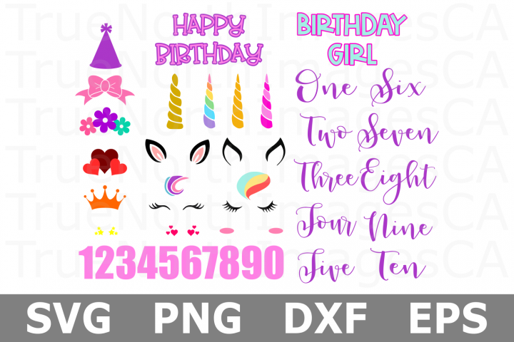 Unicorn Birthday Bundle - A Kids SVG Cut File