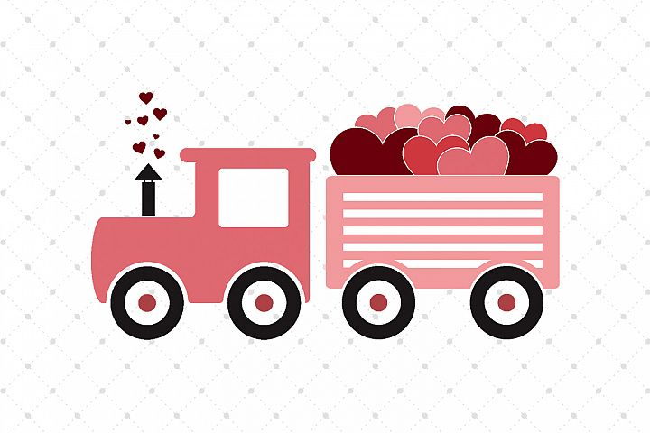 Valentines Day Train SVG Cut Files
