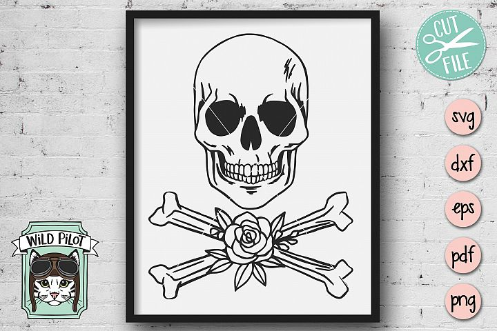Skull svg file, Skull and Crossbones cut file, Goth, Skelet