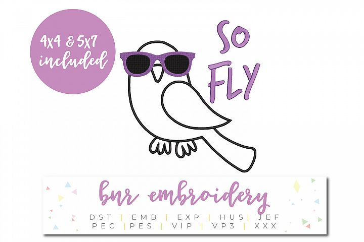 So Fly Machine Embroidery Design, Bird Embroidery