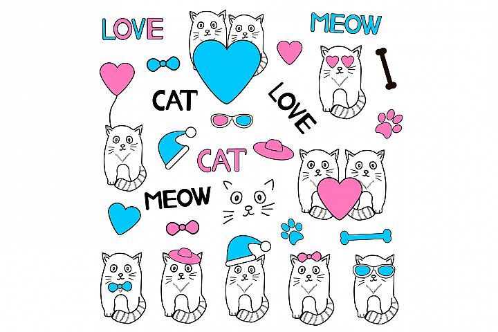 Cat clip art/funny kitten icons/valentines day