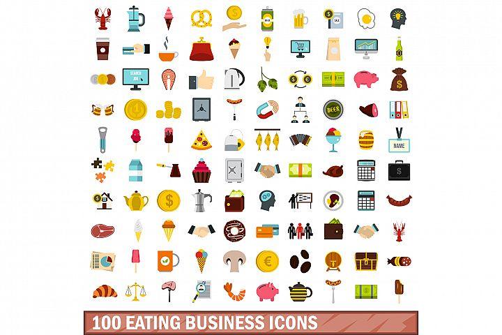 100 eating business icons set, flat style