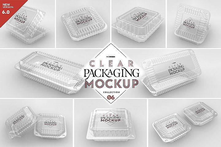 VOL.6 Clear Plastic Containers Packaging Mockup Collection