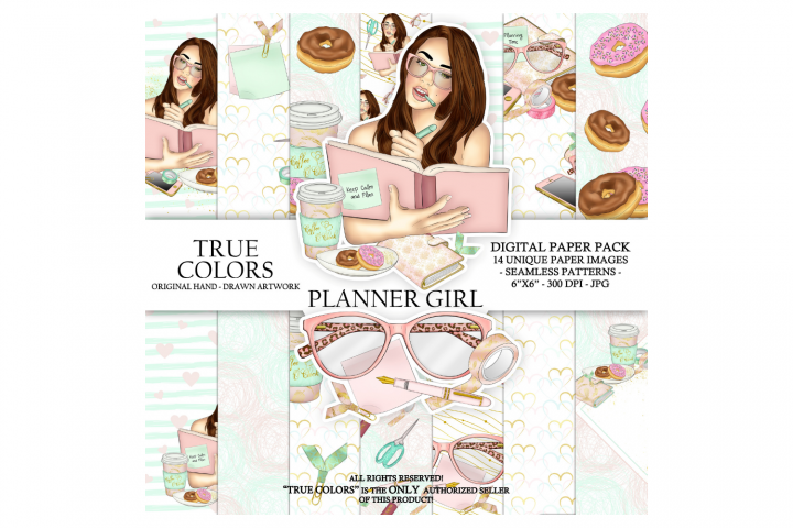Planner Girl Digital Paper Pack Planning Fashion