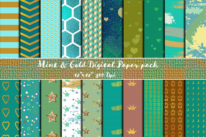 Mint & Gold Paper Pack- Instant download