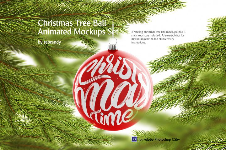 Christmas Tree Ball Animated Mockups Set