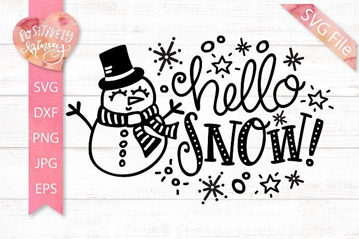 Snowman SVG File, Hello Snow SVG, Winter Sign Design