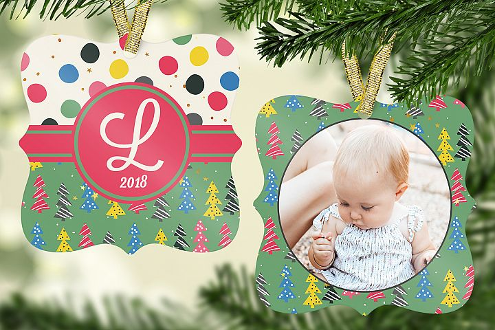 Colorful Christmas Tree Ornament Template
