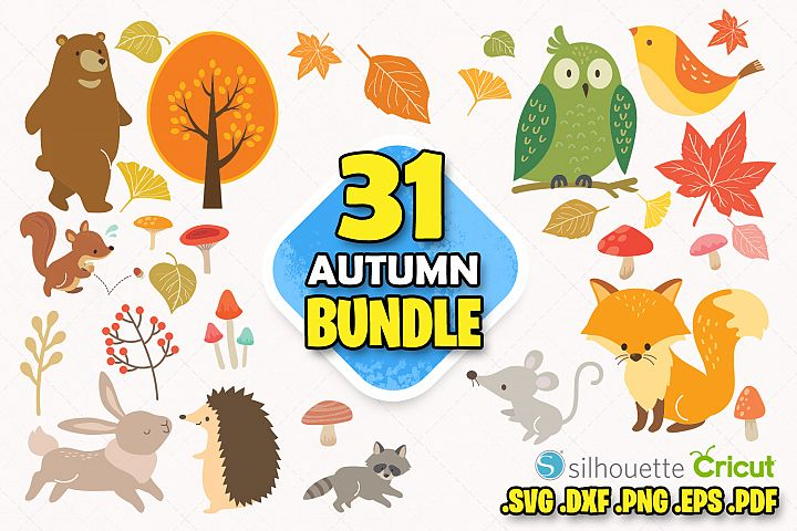 Autumn animals svg clipart autumn leaves digital clipart cut
