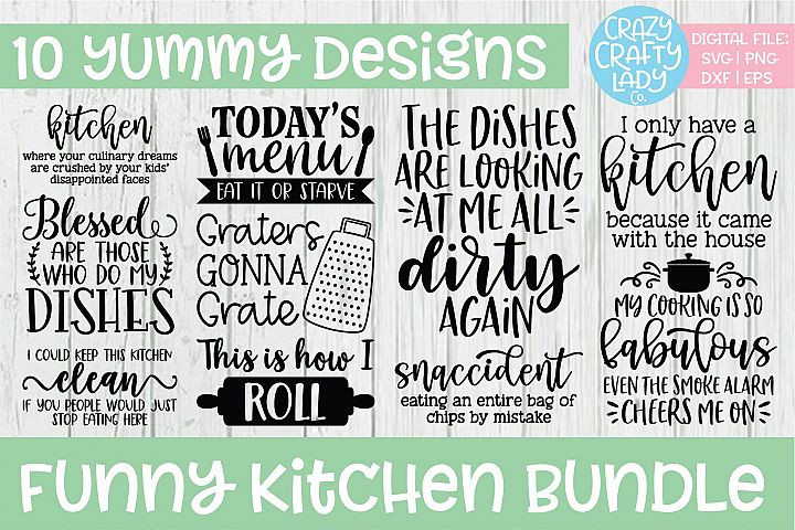 Funny Kitchen SVG DXF EPS PNG Cut File Bundle