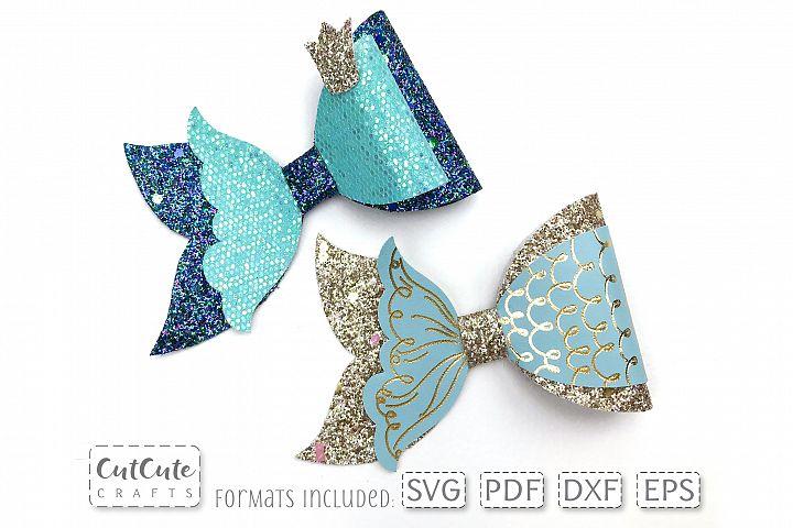princess mermaid bow svg cut files  hair bow template