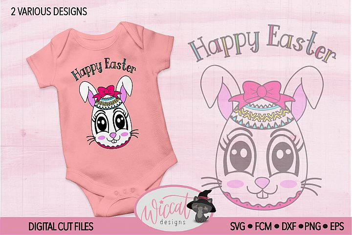 Easter egg with Bunny face svg, Girl bunny face svg cut file