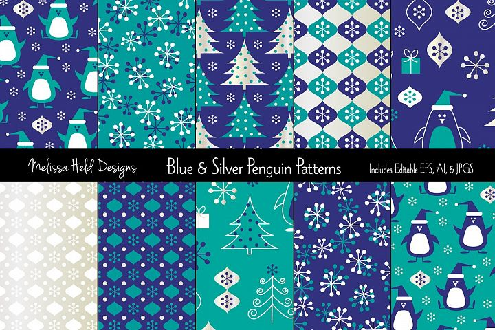 Blue & Silver Penguin Patterns