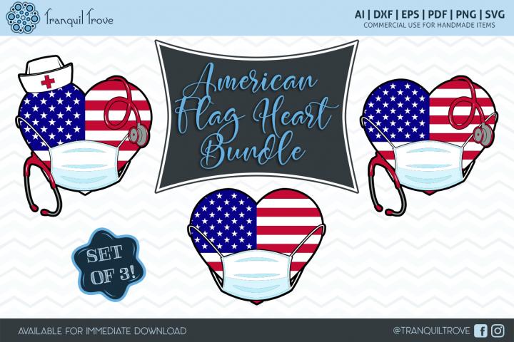American Flag Heart Bundle