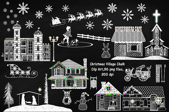 Chalk Textured Christmas Village Clip Art