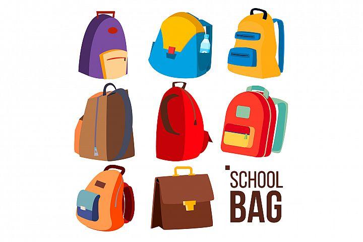 School Bag Set Vector. Different Types, View. Schoolchild
